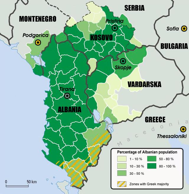 Yunanistan'daki Arnavut nüfusunu göstermiyor olsa da Arnavutların dağılımını görmek için iyi bir harita.